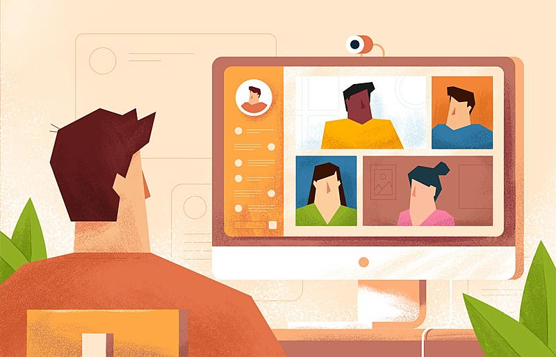 Ilustração, chamada de vídeo, videoconferência